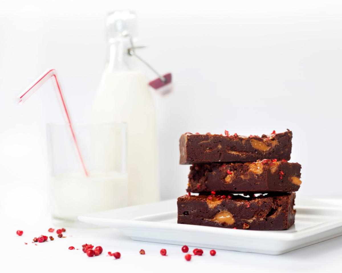 Pink Peppercorn Candy Milk Brownies